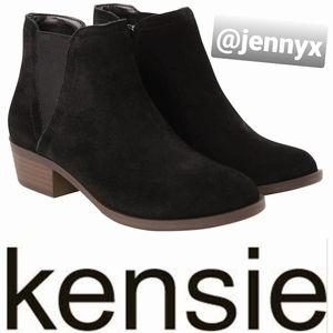 Kensie Gazelle Black Suede Ankle Booties